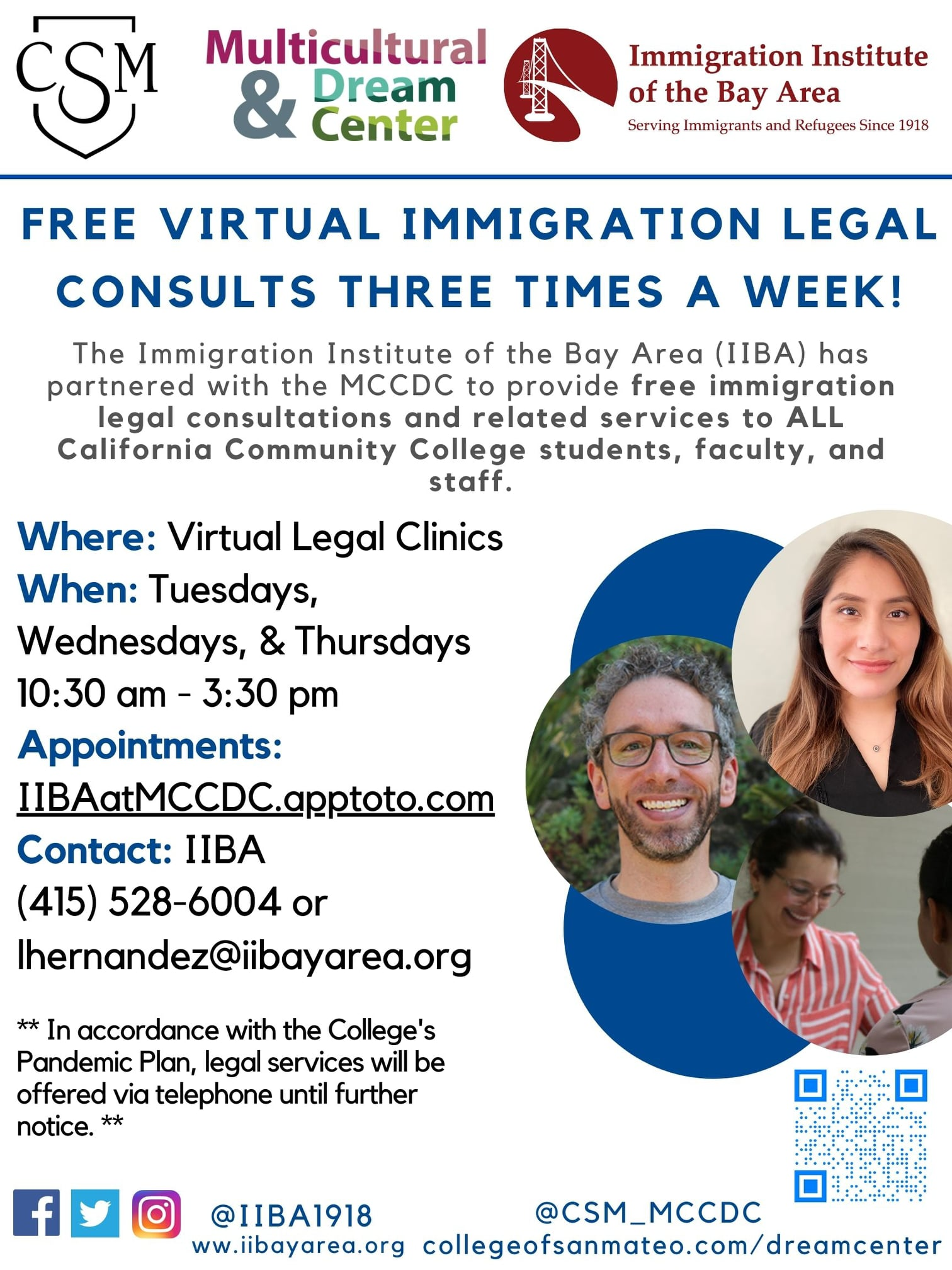 White Poster with Information of Legal Services. Text is CSM blue and black. circles on the right corner with an image of legal provider smiling.